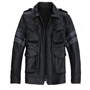 Factory Men Motorcycle Leather Jackets Genuine Cowhide Resident Evil Classic M65 Military Male Biker Motorcycle Winter Coats