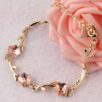 Simple Pink Crystal Bracelets Gold-color Chain Bracelet for Women Pulseiras Femininas Pulseras Mujer Fashion OL Hand Jewelry