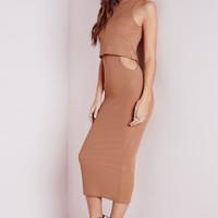 Missguided - High Neck Cut Out Bodycon Midi Dress Camel