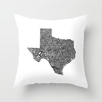 Typographic Texas Throw Pillow by CAPow!