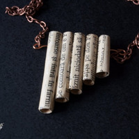 Pan flute necklace. Vintage paper jewelry. Music pendant