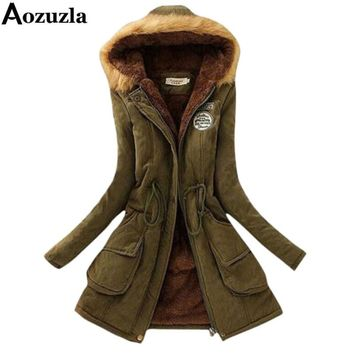 Winter Jacket Women 2017 Hooded Long Femme Woman Clothes Casual Outwear Military Coat Solid Slim Fur Collar Women Overcoat Y112