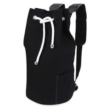 new Canvas Bucket Solid Portable Backpack For Men