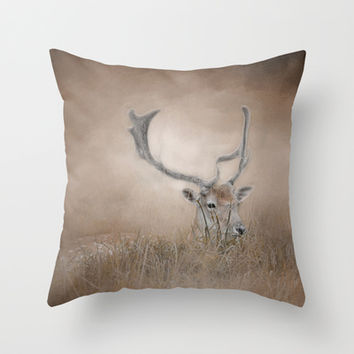 In Plain Sight - Sika Deer - Wildlife Throw Pillow by Jai Johnson