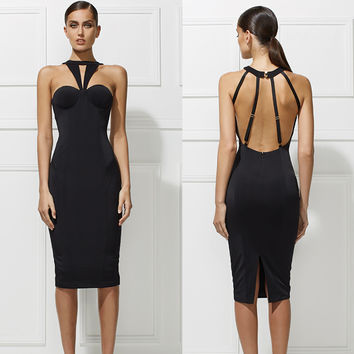 Black Halter Strappy Backless Pencil Midi Dress