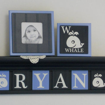 "Whale Nursery Decor, Kids Nautical Wall Art, Whale Plaques 24"" Navy Shelf - 6 Wood Wall Plates Painted Light Blue / Navy - Baby Boy RYAN"