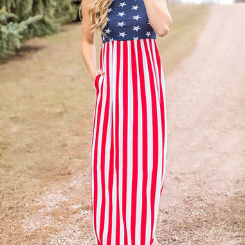 Polychrome American Flag Print Sleeveless Maxi Dress