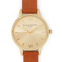 Olivia Burton Minimal Time Floats By Watch in Gold, Chestnut - Petite