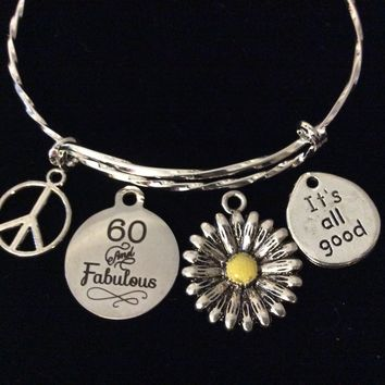 Happy 60th Birthday Jewelry Adjustable Charm Bracelet Expandable Silver Bangle One Size Fits All Gift 60 and Fabulous Peace Sign Daisy Sunflower Charm