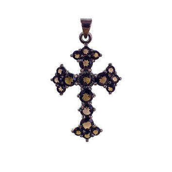 Smokey Topaz cross,Victorian cross,Black Silver cross,Handmade cross,Large silver garnet cross,Sterling Silver cross, Victorian chocker
