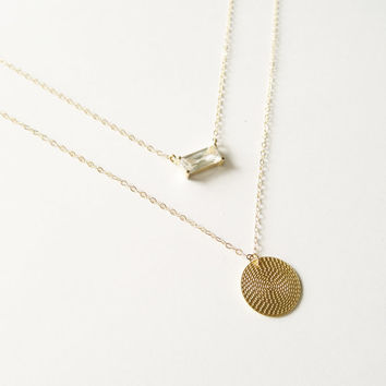 Gold Layer Necklace, Gold Coin Necklace, Delicate Gold Necklace, Gold Chain, Gold Filled Necklace, Dainty Gold Necklace, Gold Pendant