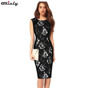 Oxiuly Womens Elegant Rockabilly Summer Floral Flower Stripe Print Pinup Round Neck Party Clubwear Sheath Bodycon Pencil Dress