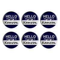 Kamron Hello My Name Is Plastic Resin Button Set of 6