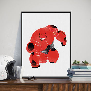Big Hero Red Baymax Pop Cartoon Film Movie A3 Poster Print Kawaii Watercolor Canvas Painting Kids Room Bar Wall Art Decor Gifts