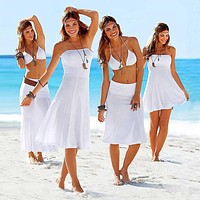 Plus Size S-XL Summer Women Beach Cover Up Sexy Swimsuit Bathing Suit Cover Up two kinds of worn Beach Wear