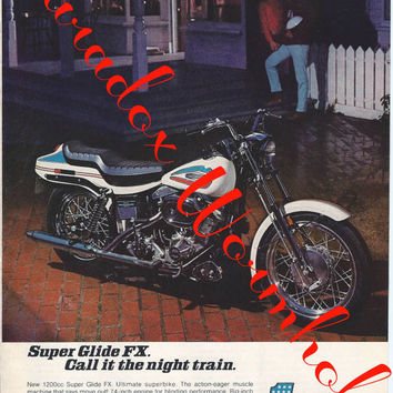 Vintage 1971 Harley-Davidson Motorcycles Super Glide FX Night Train Print Ad Advertising Man Cave Wall Art Decor