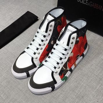 Dolce&Gabbana White Print Leather D&G Hi-Top Sneakers - Best Deal Online