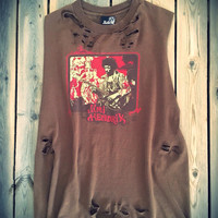 Grunge, super soft tie dyed bleached Jimi Hendrix shirt size large