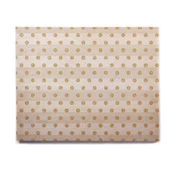 "Pellerina Design ""Linen Polka Stripes"" Gold Dots Birchwood Wall Art"