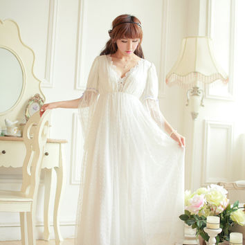 Free Shipping Lace Soft Gauze Women Long Nightgown Princess Pyjamas Beige Sleepwear roupas de dormir femininas
