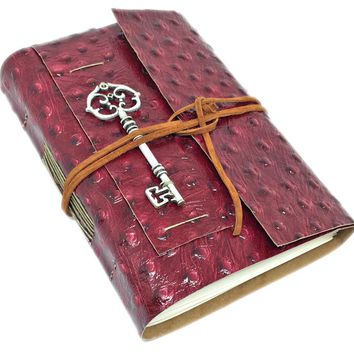 Leather Journal with Blank Paper, Burgundy Ostrich Embossed Travel Journal, Leather Journal, Key Charm, Bookmark, HandCrafted Notebook, Key