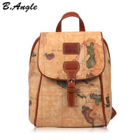 2016 fashion vintage high quality world map backpack women backpack leather backpack printing backpack