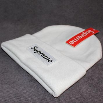Supreme tide brand male and female patch letters wool cap White