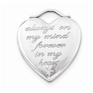 Always in My Mind Forever in My Heart Locket in Rhodium Flashed Sterling Silver