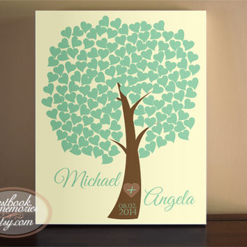 Heart Guestbook Tree- 150 Guests - 16x20 canvas or print - Wedding Tree Guest Book - Heart Tree Guest Book - Signature Hearts - Guest book