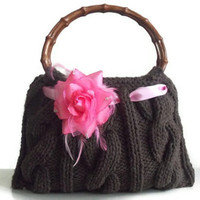 Cafe brown knitted JUBBJUBB handmade handbag small by PinKyJubb