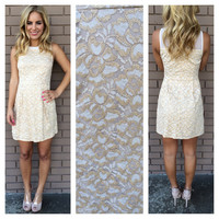 Gold Bridget Lace Sleeveless Dress