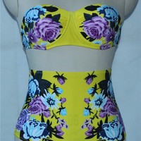 Floral Print High Waist Women Swimsuit Push Up Women Swimwear