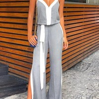 Grey Cut Out Spaghetti Strap Slit High Waisted School Appropriate Elegant Long Jumpsuit