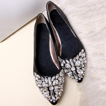 Fashion pointed toe women flat shoes summer PU ballet princess crystal rhinestone shoes casual loafers
