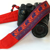 Lucky Elephants Camera Strap. dSLR Camera Strap. Purple Orange Red Camera Strap. Canon, Nikon Camera Strap. Women Accessories
