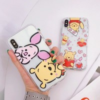 Lovely Pink Pig Winnie Pooh Bear Case for iPhone 8 7 6 6S Plus X XS Max Xr Cute Cartoon Love Heart Soft Clear TPU Phone Cover
