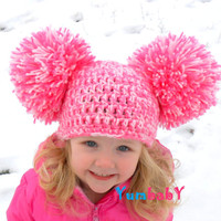 Pom Pom Hat Baby Girl Hat Toddler Hats Big Pom Poms Pink Girl Hat Photo Props