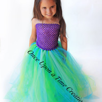 The Little Mermaid Inspired Princess Tutu Dress - Birthday Outfit, Photo Prop, Halloween Costume - 12M 2T 3T 4T 5T - Disney Ariel Inspired