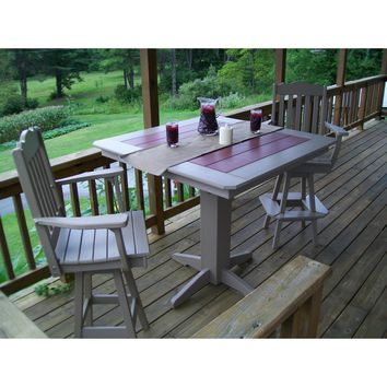 """A & L Furniture Recycled Plastic Royal Swivel 3 Piece Bar Set with 44"""" Square Table  - Ships FREE in 5-7 Business days"""