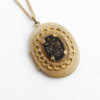 Vintage Brass Locket Necklace - 1940s Victorian Revival Onyx Black Glass Flower Intaglio Oval Pendant, with Original Photo Costume Jewelry