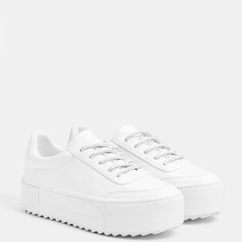 White platform sneakers - Pants - Bershka United States