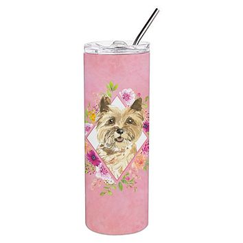 Cairn Terrier Pink Flowers Double Walled Stainless Steel 20 oz Skinny Tumbler CK4250TBL20