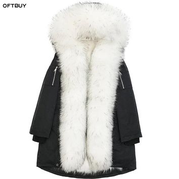OFTBUY brand 2017 new fashion winter jacket women outwear long parkas natural real raccoon fur collar coat hooded pelliccia