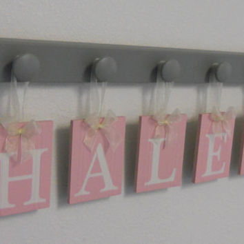 Pink and Gray Nursery Wooden Wall Letters Sign Set Includes 5 Pegs and Personalized Hanging Ribbon Letters for HALEY