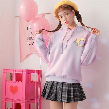Winter Pink Women Sweatshirt Hoodies Harajuku Kawaii Tops Sweet Print Japanese Cartoon Hooded Pullover Sweatshirts Tracksuit