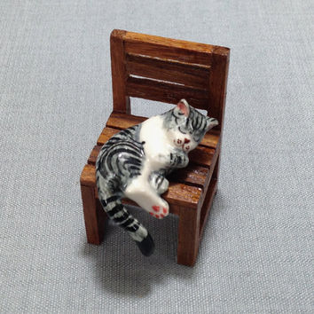 Miniature Ceramic Cat Kitty Sleeping On Wooden Chair Animal Cute Little Tiny Small Grey Figurine Statue Decoration Collectible Hand Painted