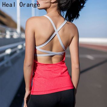HEAL ORANGE Sexy Backless Sports Top Bandage Fitness Crop Yoga Shirts Padded Yoga Top Yoga Vest Athletic Sport Clothes Tank Tops