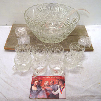 Glass, Punch, Bowl, Set, Anchor Hocking, 18 Piece, Cup, Classic, Retro, Holiday, Thanksgiving, Easter, Christmas, Serving, Family, Party