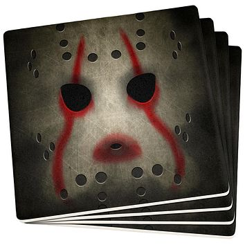Halloween Horror Movie Hockey Mask Set of 4 Square Sandstone Coasters