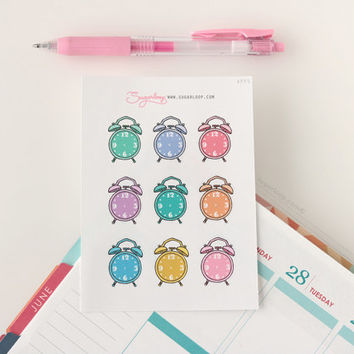 9 Alarm Clock, Cute, Hand drawn, Doodle, Planner Stickers, reminder, schedule, appointment, work, study, school, meeting, to do, APP5